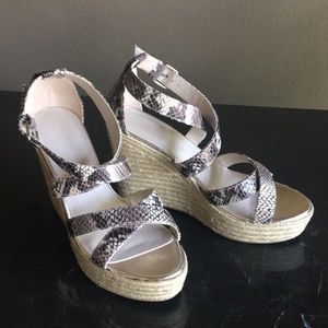 Banana Republic Snake Print Wedge Espadrilles